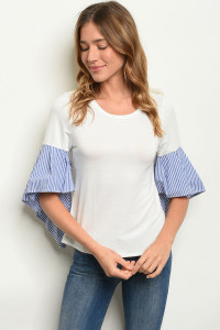 C22-B-5-T1112 OFF WHITE BLUE TOP 2-2-2