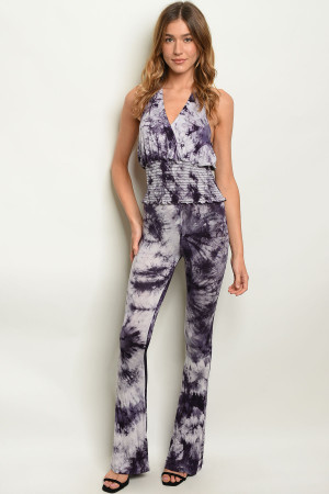 C85-A-1-SET8211 PURPLE TIE DYE TOP & PANTS SET 2-2