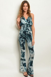 C94-A-4-SET8211 TEAL TIE DYE TOP & PANTS SET 2-2-2