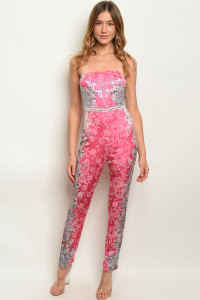 S9-1-2-J30942 FUCHSIA WITH STONES JUMPSUIT 2-2-2  ***WARNING: California Proposition 65***