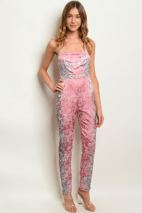 S25-7-1-J30942 PINK WITH STONES JUMPSUIT 3-2-2  ***WARNING: California Proposition 65***