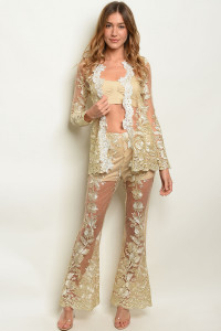S9-2-1-SET20290 GOLD CARDIGAN & PANTS SET 2-2-2