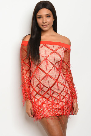 S9-2-3-D20649 RED NUDE DRESS 2-2-2  ***WARNING: California Proposition 65***