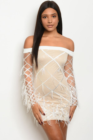 S10-1-2-D20649 WHITE NUDE DRESS 2-2-2  ***WARNING: California Proposition 65***