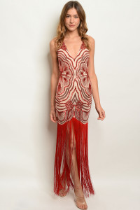 S19-8-2-D21032 RED NUDE WITH SEQUINS DRESS 2-2-2
