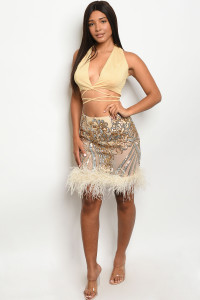 S10-2-2-SET107458 NUDE GOLD WITH SEQUINS TOP & SKIRT SET 2-2-2  ***WARNING: California Proposition 65***