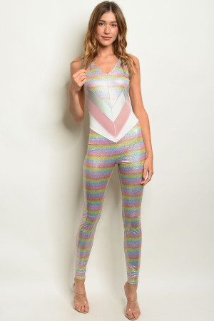 S19-8-2-J21280 PINK MULTI JUMPSUIT 3-4  ***WARNING: California Proposition 65***