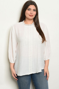 S25-6-3-T4527X IVORY PLUS SIZE TOP 2-2-2