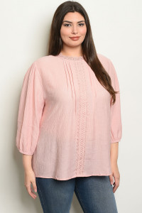 S25-6-1-T4527X PINK PLUS SIZE TOP 2-2-2