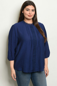 S25-6-3-T4527X NAVY PLUS SIZE TOP 2-2-2