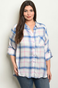 S11-8-3-T4222X BLUE CHECKERED PLUS SIZE TOP 2-2-2