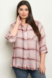 S17-7-5-T4222X PINK CHECKERED PLUS SIZE TOP 1-1-1
