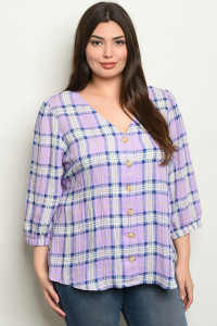 S9-14-3-T4217X LAVENDER CHECKERED PLUS SIZE TOP 2-2-2