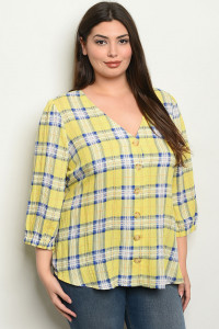 S9-14-3-T4217X YELLOW CHECKERED PLUS SIZE TOP 2-2-2