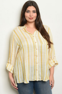 S17-4-4-T4223X YELLOW STRIPES PLUS SIZE TOP 1-1-1