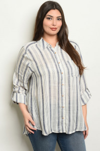 S9-14-1-T4223X NAVY STRIPES PLUS SIZE TOP 2-2-2