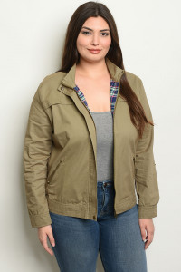 S9-14-1-J8782X OLIVE PLUS SIZE JACKET 2-2-2