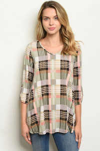 C58-B-3-T21792 OLIVE CHECKERED TOP 2-2-2