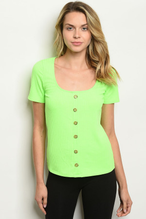 C8-B-3-T51459 LIME GREEN TOP 2-2-2