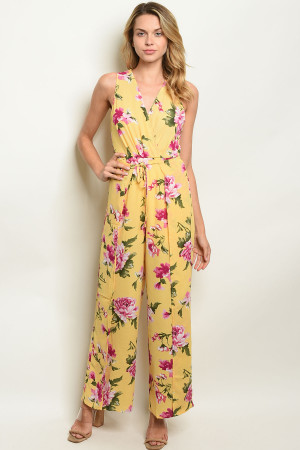 S22-8-2-NA-J19107 YELLOW FLORAL JUMPSUIT 1-2-2