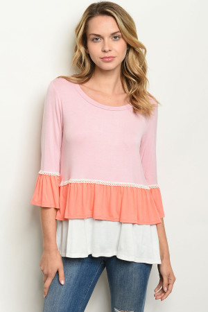 C38-B-1-T11030 BLUSH PEACH TOP 3-2-2