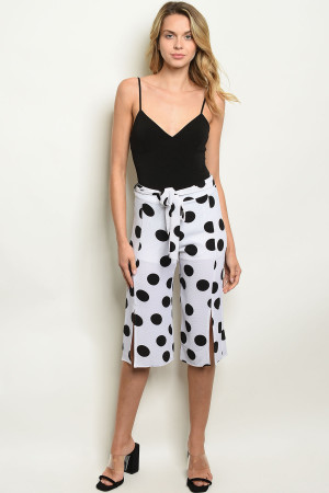 C34-A-2-P2318 WHITE BLACK DOTS PANTS 2-2-2