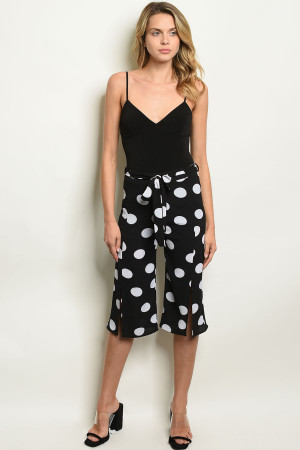 C34-A-5-P2318 BLACK WHITE DOTS PANTS 2-2-2