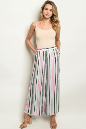 C67-A-4-P2524 PINK GREEN STRIPES PANTS 2-2-2