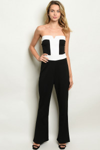 C69-A-3-J2498 BLACK OFF WHITE TAN JUMPSUIT 2-2-2