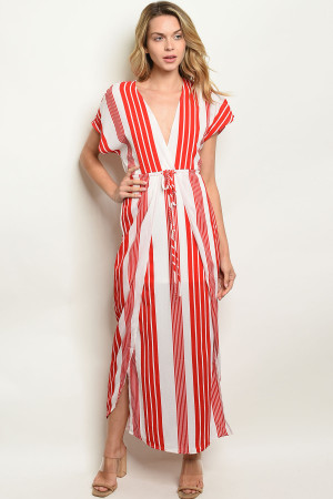 S22-9-2-NA-D19632 RED STRIPES DRESS 2-1-2