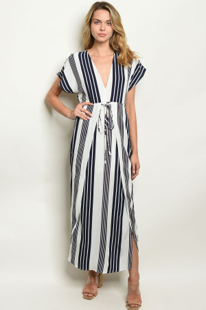 S22-9-2-NA-D19632 NAVY STRIPES DRESS 3-2