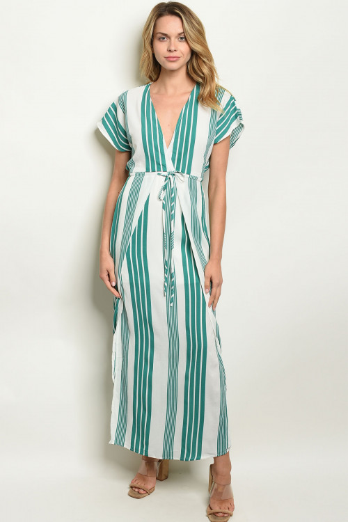 S9-7-2-D19632 GREEN STRIPES DRESS 2-2-2