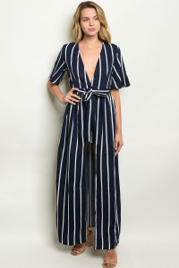 S9-9-1-NA-J20218 NAVY STRIPES JUMPSUIT 2-2-2