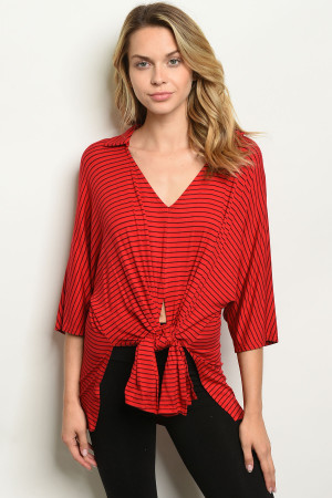 C18-B-1-T12158 RED STRIPES TOP 2-1-1