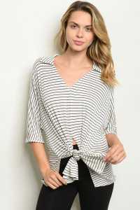 C19-B-3-T12158 IVORY STRIPES TOP 2-2-2