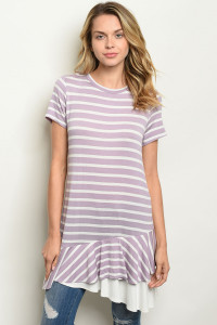 C9-A-4-D12138 LAVENDER STRIPES TOP 2-2-2