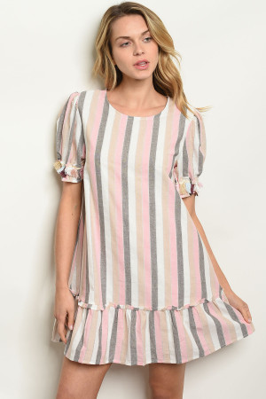 S14-12-3-D42832 PINK STRIPES DRESS 2-1-1