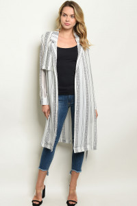 S9-10-4-C90812 WHITE BLACK CARDIGAN 2-2-2