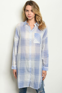 S15-8-6-T24520 BLUE CHECKERS TOP 2-2-2