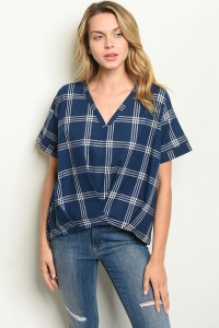 S15-7-5-T14094 NAVY CHECKERS TOP 2-2-2