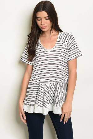 S9-10-3-T14105 WHITE STRIPES TOP 2-2-2