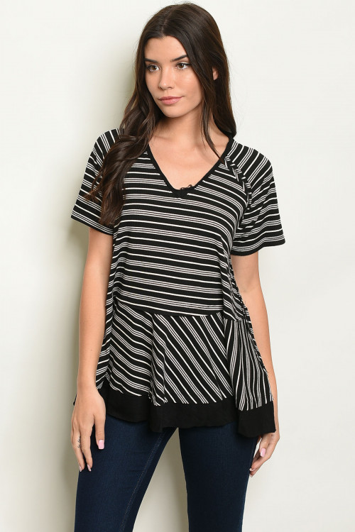 S9-10-3-T14105 BLACK STRIPES TOP 2-2-2