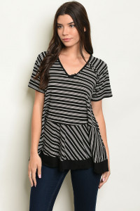 S17-5-5-T14105 BLACK STRIPES TOP 1-1-1