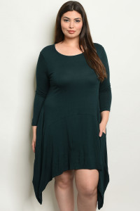 S14-7-1-D5259X DARK GREEN PLUS SIZE DRESS 3-3