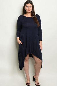 S14-7-1-D5259X NAVY PLUS SIZE DRESS 2-2-2