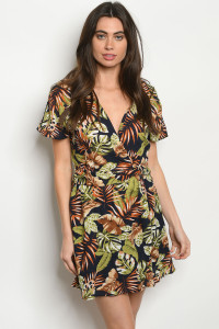 S9-12-4-D42743 NAVY W/ LEAVES DRESS 2-2-2