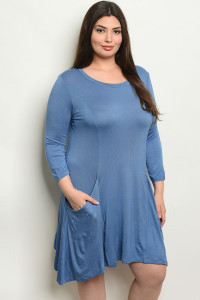 S18-7-4-D5319X INDIGO PLUS SIZE DRESS 3-1-2
