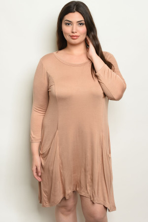 S15-7-4-D5319X TAN PLUS SIZE DRESS 2-2-2