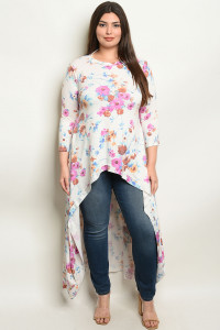 S9-13-2-T1436X CREAM FLORAL PLUS SIZE TOP 2-2-2