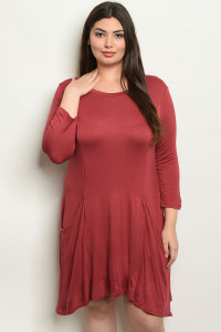S16-9-3-D5319X WINE PLUS SIZE DRESS 2-2-2